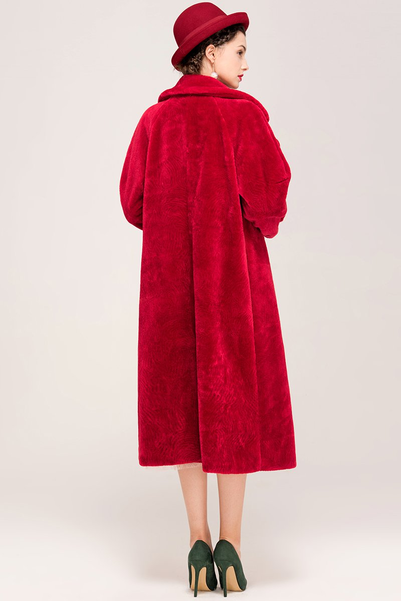 YIGELILA Women's Vintage Oversized Shearling Belted Long Fur Coat Wool Outwear 5