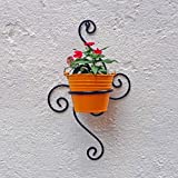 Wrought Iron Wall Bracket With Metal Bucket - S-Shape - Black & Yellow