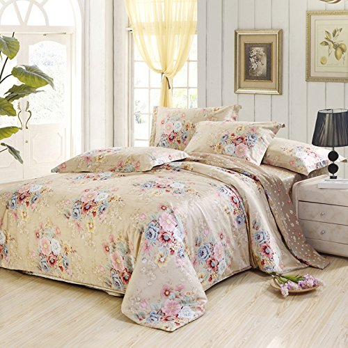 Lt Queen King Size 100% Egyptian Cotton 1200Tc 4-Pieces Pink Yellow Flowers Khaki Brown Floral Prints Duvet Cover Set/Bed Linens/Bed Sheet Sets/Bedclothes/Bedding Sets/Bed Sets/Bed Covers/5-Pieces Comforter Sets (4, Queen) front-749474