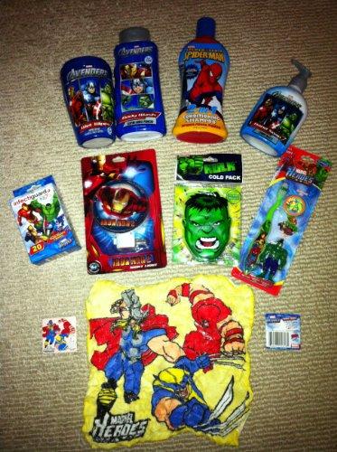 Marvel avengers characters super hero squad kids bathroom hygiene set including hot cold pack - Marvel superhero bathroom accessories ...