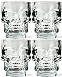 Circleware Clear Heavy Base Skull Face Shot Glass Set, 1.73 Ounce, Set of 6, Limited Edition Glassware, Whiskey Vodka Liquor Drinking Glasses