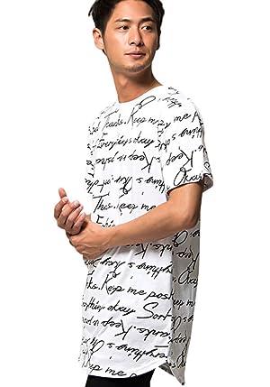 CavariA メンズ 英字 総柄 ロゴ プリント ロング丈 クルーネック 半袖 Tシャツ