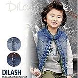 (ディラッシュ) DILASHデニム&迷彩ボアリバーシブルベスト/秋 ベビー キッズ 男の子 120 サックス