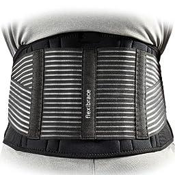 Back Support Brace Belt Lumbar Waist Double Adjust By Flexibrace ® (MEDIUM)