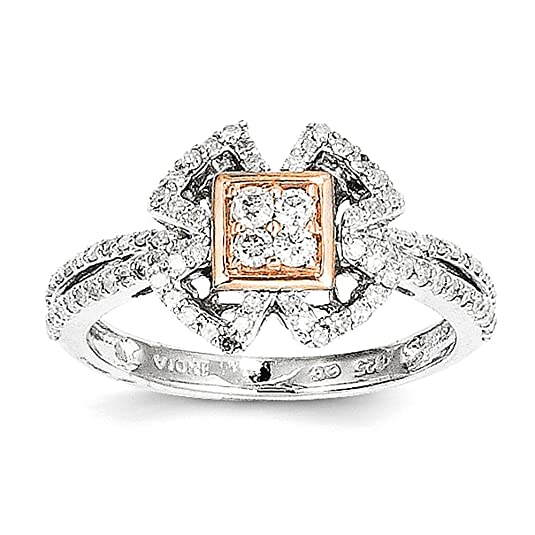 Sterling Silver Rhodium Plated & 14k Rose Gold Diamond Ring