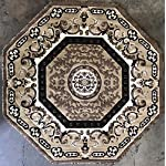 Traditional Oriental Persian Octagon Area Rug Beige Design 101 (7 Feet 3 Inch X 7 Feet 3 Inch)