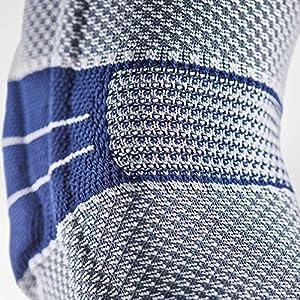 Bauerfeind GenuTrain Knee Support Brace (New Version) - Targeted Support for Pain Relief & Stabilization for Weak, Swollen & Injured Knees & Arthritis - Size 5 - Color Titanium (Color: Titanium (New Version), Tamaño: 5)
