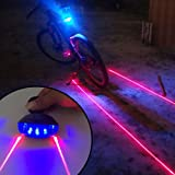 Ultra Bright Bicycle Tail Light Laser Light Waterproof Safety Warning Rear Light Red LED Back Light Flashlight Lamp for Mountain Bike 2 Laser 5 LED 7 Modes (Color: Lane(Blue+Red))
