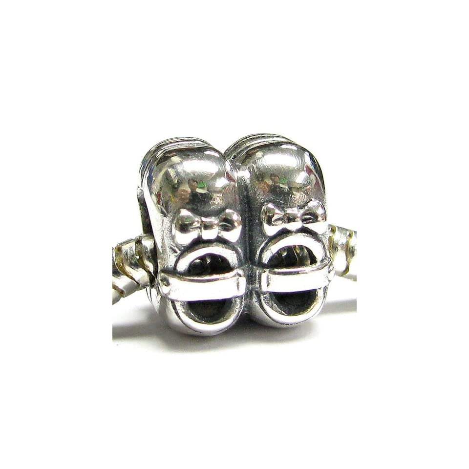 Sterling Silver Cute Lovely Baby Girl Shoes Ribbon Bow Bead For European Charm Bracelets
