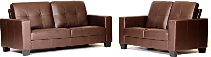Lena Brown Bonded Leather and Pvc 3+2 Suite