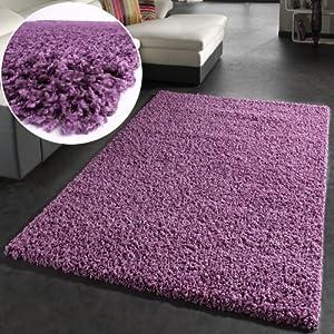 Shaggy Rug High Pile Long Pile Modern Carpet Uni Violet Purple by PHC