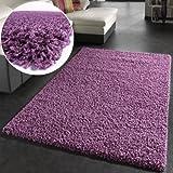 Shaggy Rug High Pile Long Pile Modern Carpet Uni Violet Purple, Size:70x140 cm