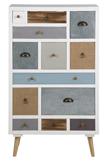 Moderne Kommode Hoch Skandinavisch 70 x 30 x 114 cm mit 13 Schubladen Anrichte Weiß Mehrfarbig
