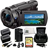 Sony 4K HD Video Recording FDR-AX33 Handycam Camcorder + 32GB Bundle 9PC Accessory Kit Includes SanDisk Extreme 32GB UHS-I/U3 SDHC Memory Card (SDSDXN-032G-G46) + 2 Extended Life Replacement FV-70 Batteries + AC/DC Rapid Home & Travel Charger + Carrying Case + Micro HDMI Cable + Microfiber Cleaning Cloth
