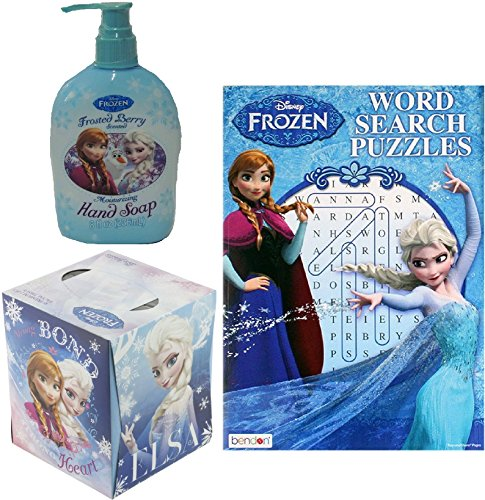 Disney Frozen Anna & Elsa Word Search Puzzle Book, Berry Hand Soap & Tissue Set - 1