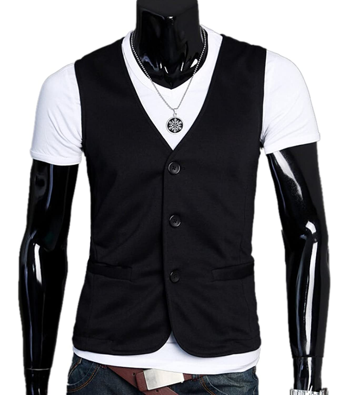 XTX Men's Slim Fit Casual Dress Vest Suit Waistcoat Jacket Coats safety high visibility reflection vest waistcoat outdoor running cycling vest belt tapes reflective knitted waistcoat gilet