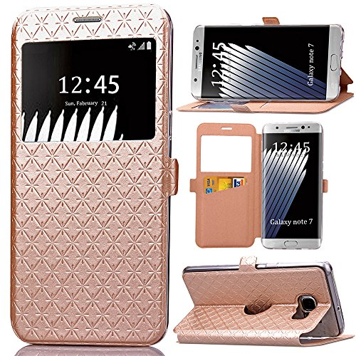 10. Note 7 Case, Galaxy Note 7 Case, ArtMine Quilted Plain Color Window View Function PU Leather Flip Folio Book Style Card Slots Kickstand Wallet Phone Case
