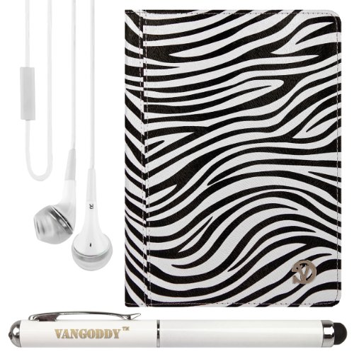 "Mary Portfolio Case W/ Handstrap & Kickstand For Archos Platinum Titanium Neon Helium Xenon Carbon Cobalt 8 To 9"" Tablets + Laser Stylus Pen + White Headphones (Zebra)"