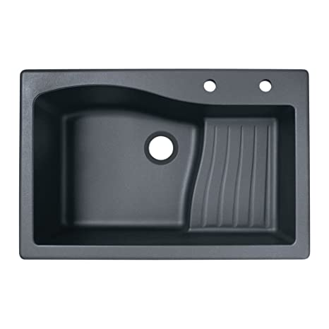 Swaoi|#Swanstone QZ03322AD.077-2C 22-In X 33-In Granite Kitchen Sink 2-Hole, Nero,