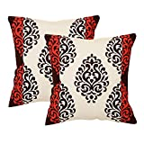 Khrysanthemum Oxford Cotton Ethic Design Cushion Cover (Set Of 2) - 16 x 16 inches, Multi
