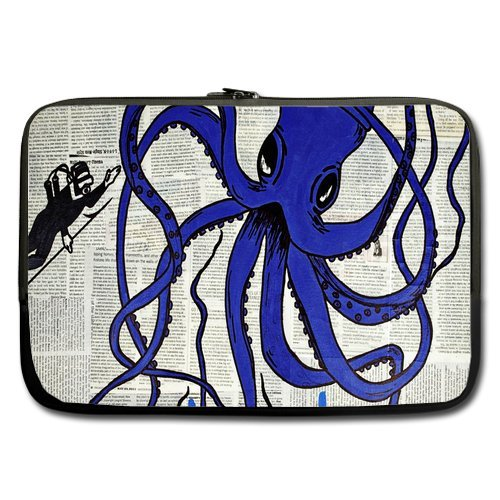 Blue Octopus With Big Eyes And Eight Feet Sleeve For Macbook Pro / Sleeve For Laptop / Notebook Computer / Macbook / Macbook Pro / Macbook Air 17'' front-886930