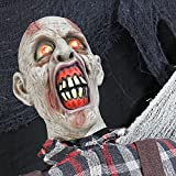 Halloween Haunters Life Size Stand Up Farmer Zombie Animated Rocking Moving Torso Prop Decoration - Red Light Up Eyes - Dead Body, Brain - Battery Operated