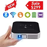 Mini Video Projector HD Portable Projector WiFi Bluetooth Support 1080P Max200 DLP Video Projector Built in Battery 4000mAh Android System for Home Theater Entertainment (Color: V_prod06)