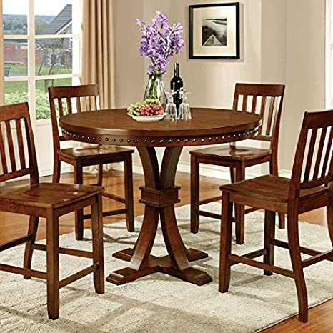 Gentry Transitional Style Vintage Oak Finish 5-Piece Counter Height Table Set