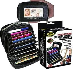 Rfid Security Wallet Leather Accordion Flip Credit Card Zipper Scanning Blocks -New