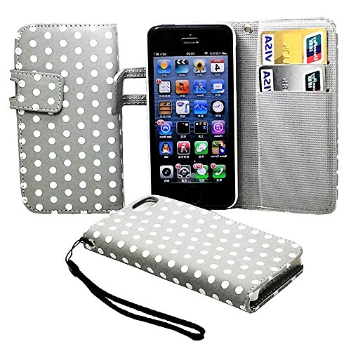 Mylife (Tm) Heather Gray And White - Polka Dot Design - Textured Koskin Faux Leather (Card And Id Holder + Magnetic Detachable Closing) Slim Wallet For Iphone 5/5S (5G) 5Th Generation Itouch Smartphone By Apple (External Rugged Synthetic Leather With Magn