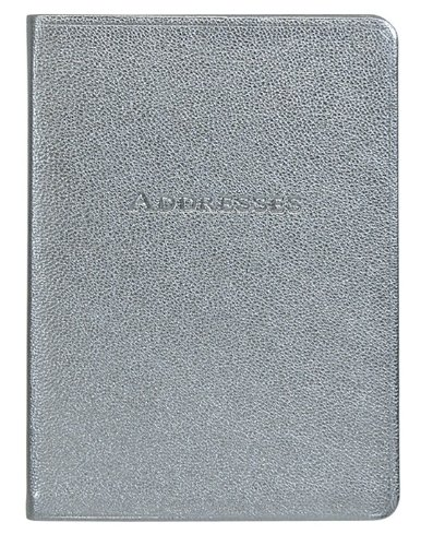 7-Inch Leather Bound Desk Address Book, Silver Goatskin
