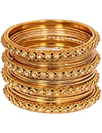 Sitashi Beautiful Gold Plated Artificial Jewellery Party Wear Bangles Set For Women And Girls