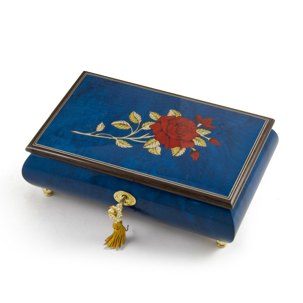 Radiant Royal Blue Italian Musical Jewelry Box with Red Rose Inlay with 18 Note Tune-Let Me Be Your Teddy Bear be frank with me
