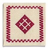 オリムパス製絲 こぎん刺製作キット コースター(赤)18