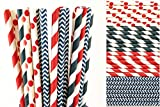 Red, White and Navy Blue Straw Mix - Chevron, Striped, Polka Dots (50)