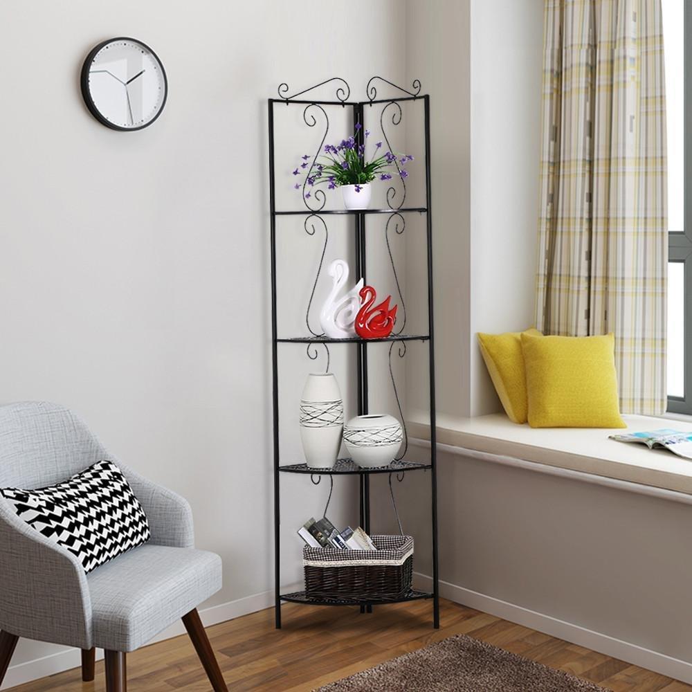 topeakmart 4 tier metal corner shelf unit iron art storage shelves for bathroom living room. Black Bedroom Furniture Sets. Home Design Ideas