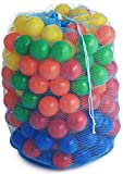 ★NEW IMPROVED TOP QUALITY & BIG SIZE - SATISFACTION GUARANTEED★ Heavy Duty Plastic Soft Air-Filled Pit Balls for Ball Pits, Baby Playpen, Pack 'n Play, Bounce Houses, Play Tents, Playhouses, Kiddie Pools, etc. / 5 Bright Colors; Exciting Fun Toy for Toddl