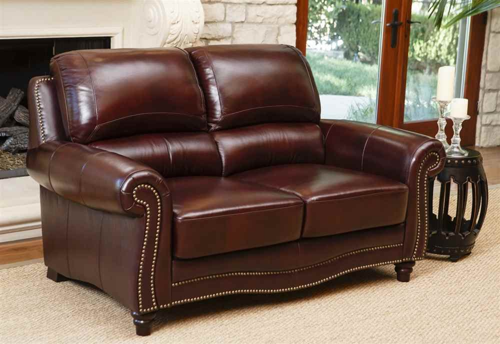 Abbyson Living Terbella Top Grain Leather Loveseat in Dark Burgundy