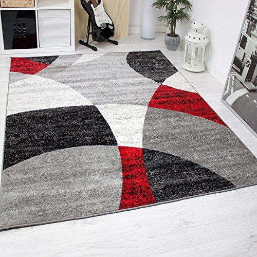 Tappeto Soggiorno Camera Letto Geometrica Motivo a cerchi Erica in grigio Bianco Nero e Rosso - ÖKO-TEX Certificato - rosso, rosso, 80x150 cm