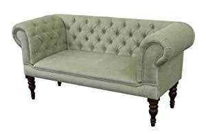 Buttoned Green Fabric Slipper Sofa with Mahogany turned Legs       review and more information