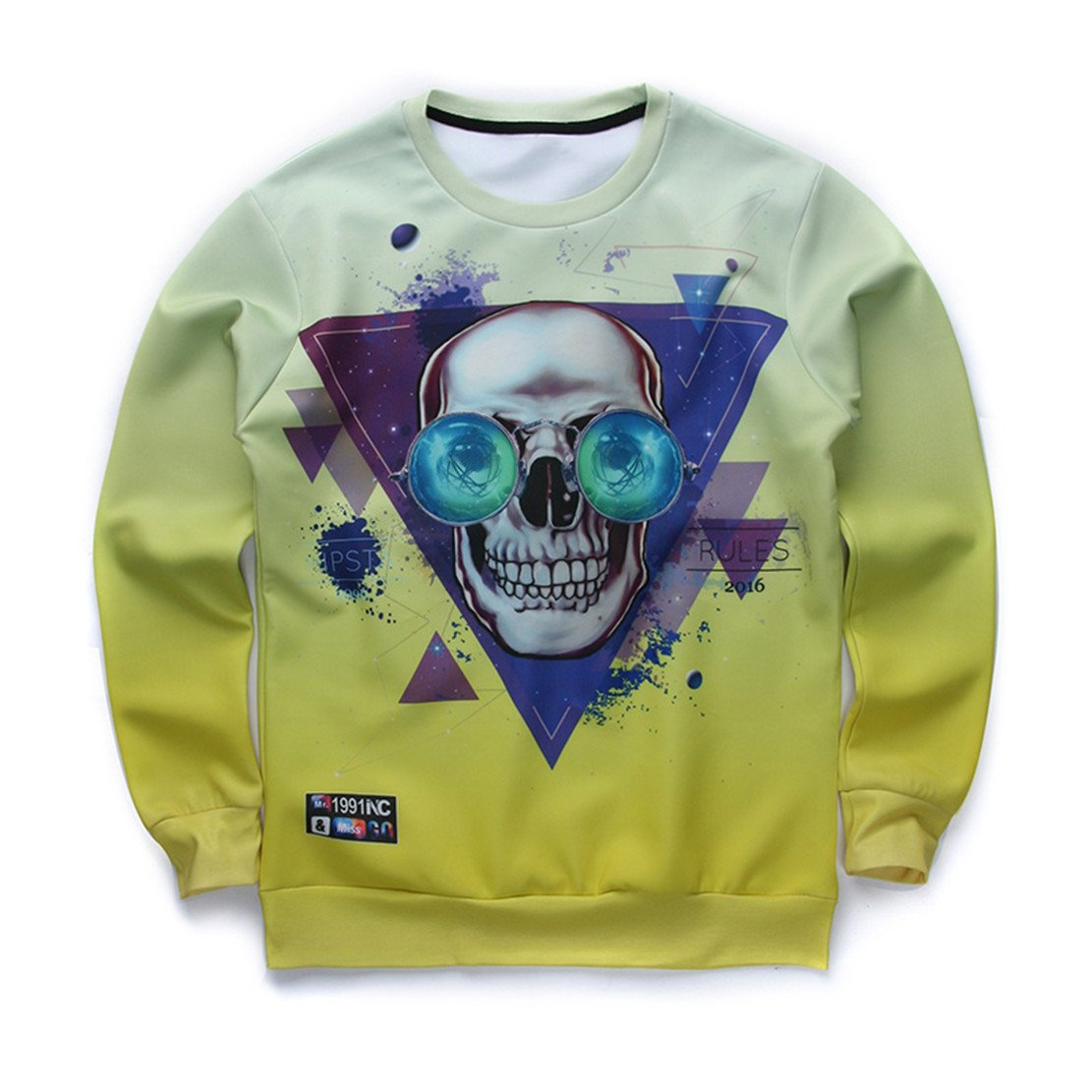 Autumn Fashion Long Sleeve Tee Clown Skull 3D Print Hoodies