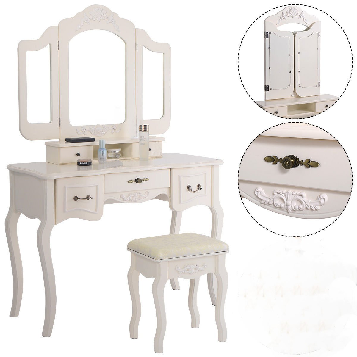 Tri Folding Vintage White Vanity Makeup Dressing Table Set 5 Drawers &stool 0