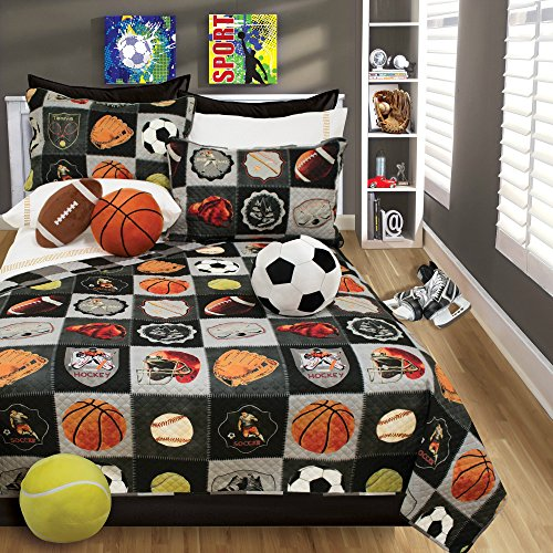 Boys Bedding Reversible Quilt and Pillow Sham Set, Choice of TWIN or FULL - All-Star Sports Theme Football Basketball Baseball Soccer and Hockey (FULL/QUEEN 86 X 86) (Basketball Quilt compare prices)