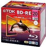 TDK 録画用ブルーレイディスク BD-RE 25GB 1-2倍速 ホワイトワイドプリンタブル 20枚 5mmスリムケース BEV25PWA20A