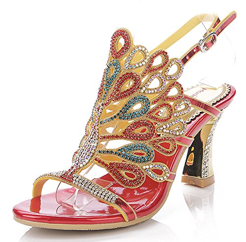 evening sandals low heel - red peacock sandals