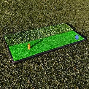 FORB Launch Pad Golf Practice Mat (2-in-1 Fairway/Rough) (24in x 12in) - Mini Golf Mat Combining Realistic Fairway & Semi-Rough Lies [Net World Sports]