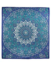 Sunshine Joy Traditional Indian Tapestry Elephant Star Mandala Blue, Teal & Grey