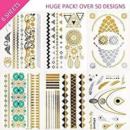 HUGE PACK Over 50 Designs! Flash Temporary Tattoos Set for Adult Women, Teens & Girls - Includes 5 Tattoo Paper Sheets in Metallic Silver, Gold Glitter and Black - Large & Small Tattoo Designs for Use Anywhere. GET 1 Bonus Now!