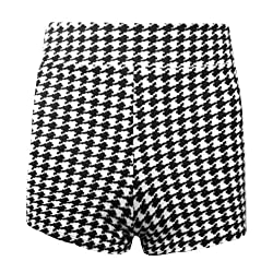 Womens Ladies Dog Tooth Celeb Party High Waisted Stretchy Short Hot Pants All Sizes Are Available In Listing