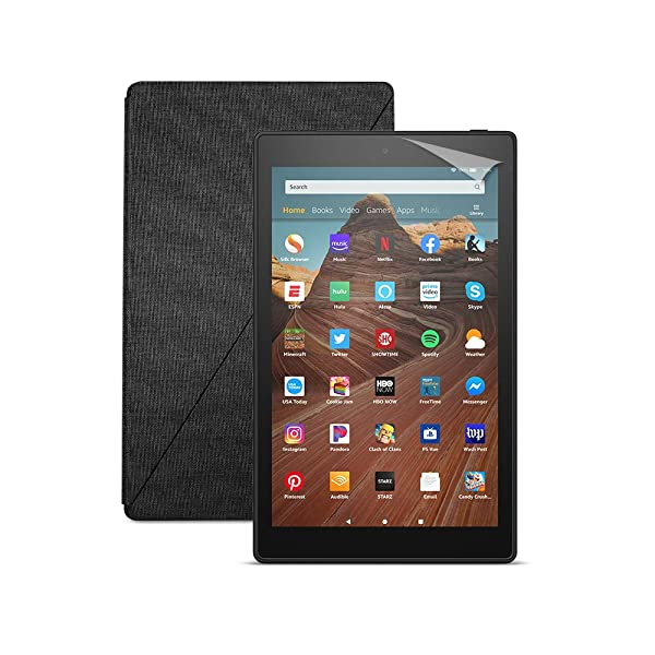Fire HD 10 Tablet (64 GB, Black, With Special Offers) + Amazon Standing Case (Charcoal Black) + Nupro Screen Protector (2-pack) (Color: Black)